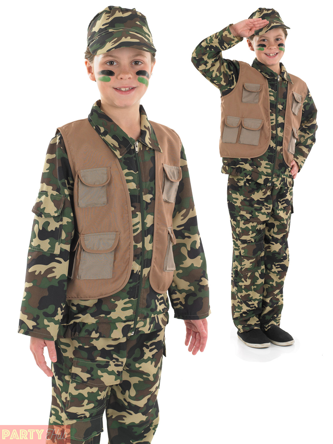 90d4802a2 Army Soldier Desert Style Boys S Fancy Dress up Costume Outfit 4-6 ...