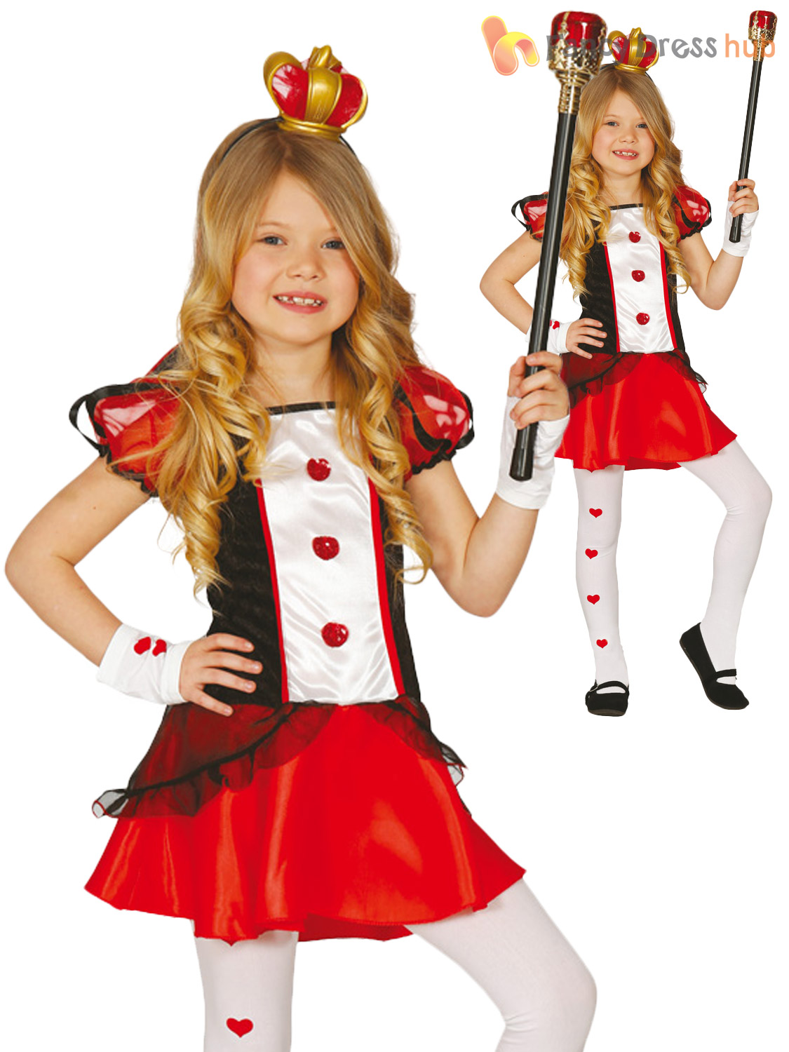girls queen of hearts costume child alice fairytale