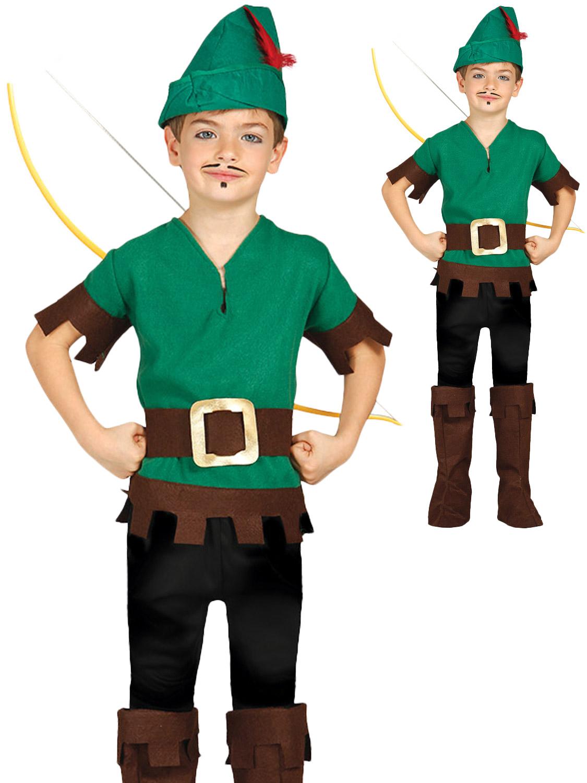 Kids Boys Toddler Robin Hood Fancy Dress Book Week Peter Pan Costume Outfit New