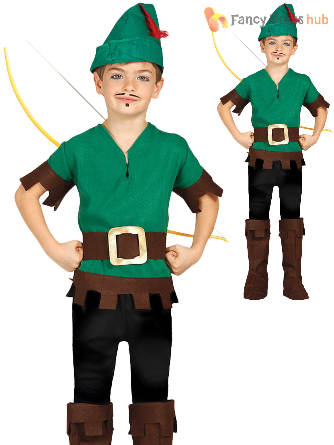 3b24c4ccacb Kids Robin Hood Costume Boys World Book Day Fancy Dress 5-6 Years ...