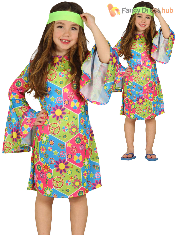 Child-Hippy-Costume-Boys-Girls-Hippie-Fancy-Dress-  sc 1 st  eBay & Child Hippy Costume Boys Girls Hippie Fancy Dress Kids 60s 70s Book ...