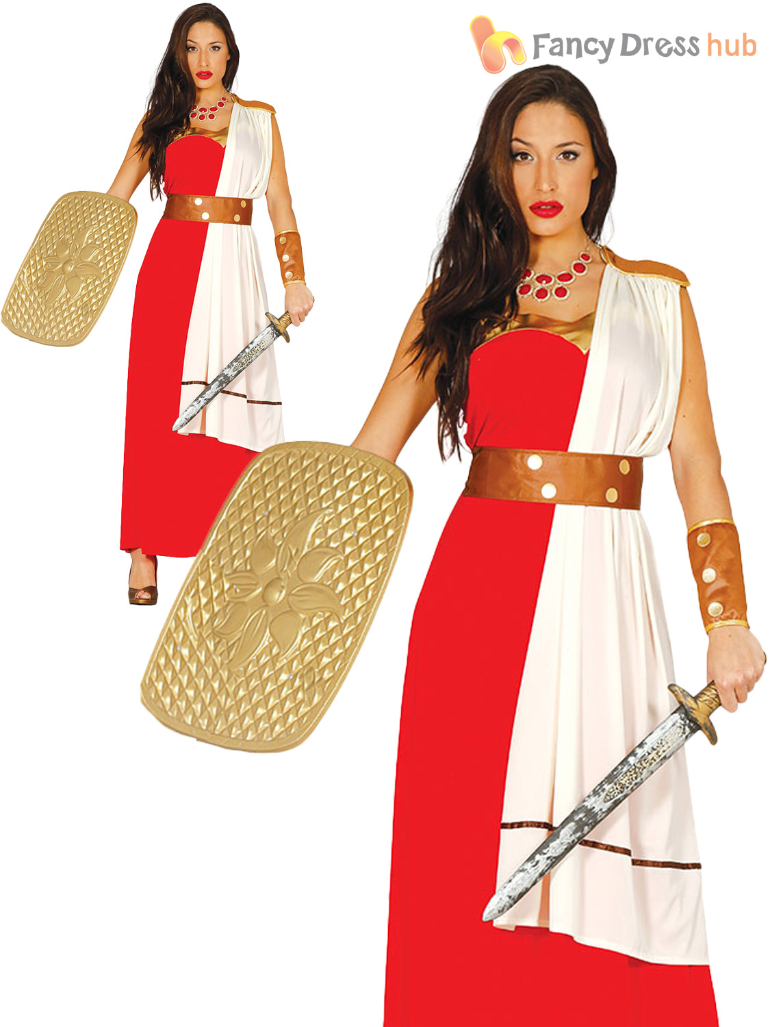 Ladies-Gladiator-Warrior-Costume-Adults-Spartan-Roman-Fancy-  sc 1 st  eBay & Ladies Gladiator Warrior Costume Adults Spartan Roman Fancy Dress ...