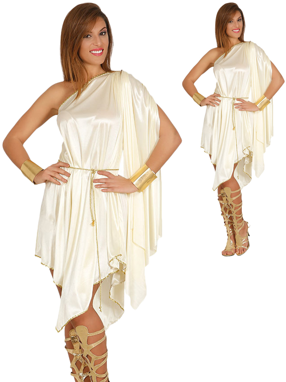 Ladies Greek Goddess Fancy Dress Costume Roman Toga Grecian Womens Outfit