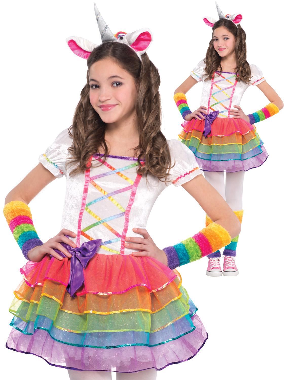 815ddc8c Details about Girls Rainbow Unicorn Costume Childs Fairytale Fantasy Fancy  Dress Kids Outfit