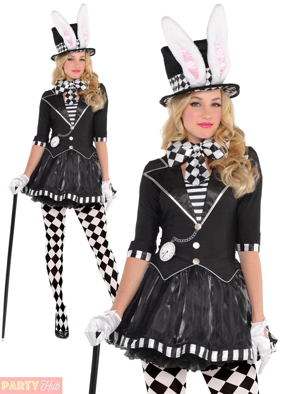 Dark Mad Hatter Halloween Costume Mens Ladies Alice Wonderland ...