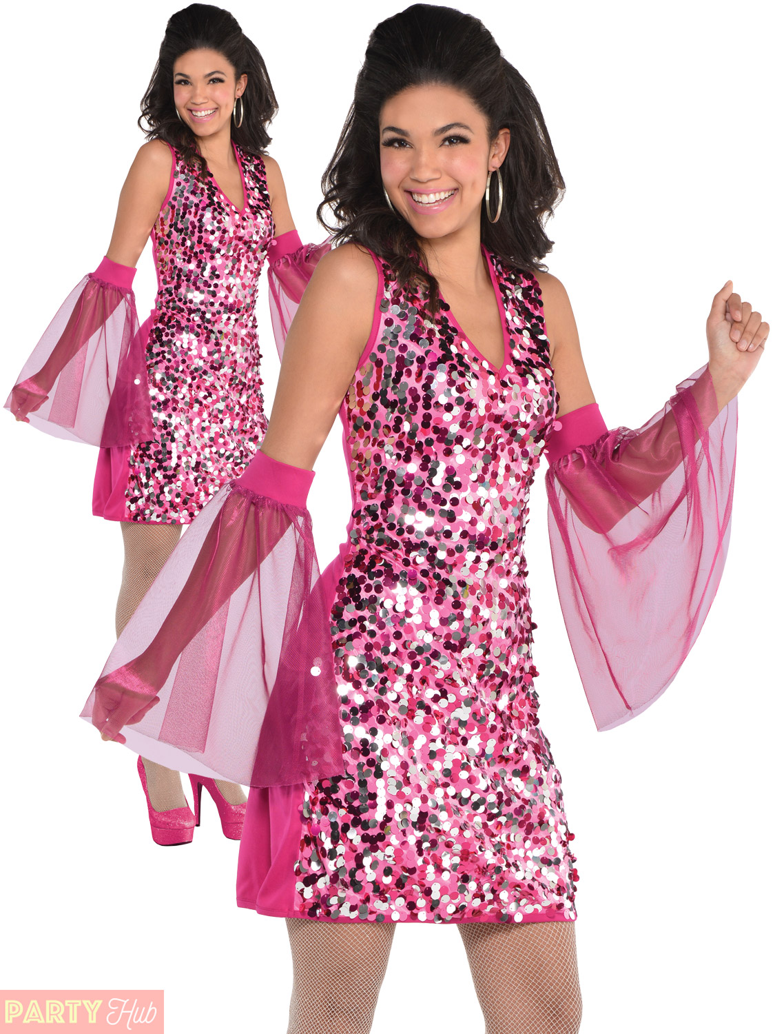 Ladies Disco Costume Adults 1960s 1970s Fancy Dress Womens ...