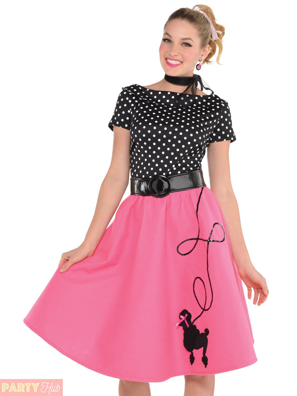 Ladies 1950s Rock n Roll Costume Adult 50s Poodle Fancy ...