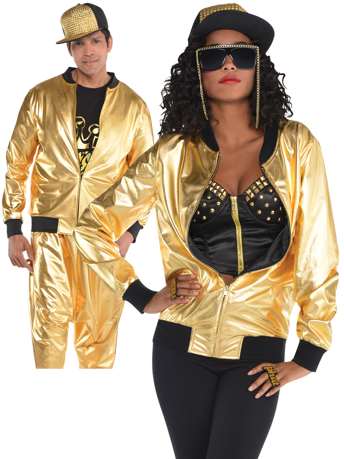 Adult Gold Bomber Jacket Mens Ladies 80s Hip Hop Rapper ...