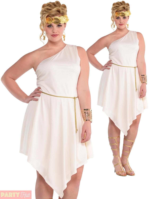be385fed1b0 Ladies Plus Size Goddess Dress Greek Roman Fancy Dress Adults Grecian Outfit