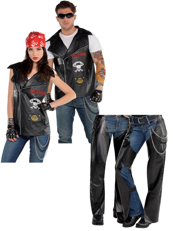 Adults Biker Vest Costume Mens Ladies 80s Cowboy Chaps Fancy Dress 1980s Outfit | EBay