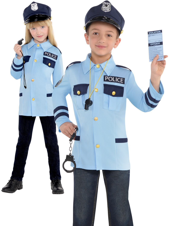 Kids Boys Police Officer Costume US Cop Fancy Dress Uniform Book Week Outfit