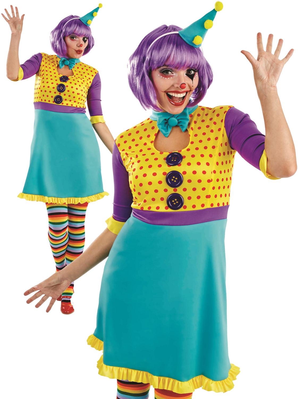 Ladies Clown Costume Adults Circus Fancy Dress Womens Carnival ...