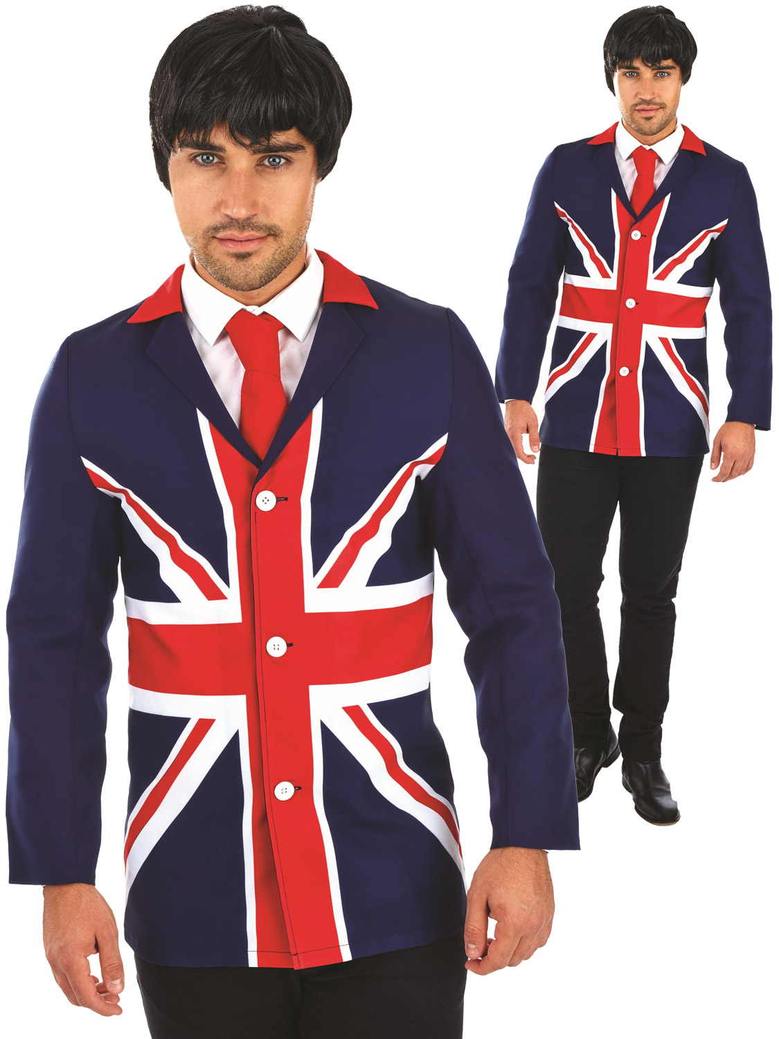 271730617bc Details about Mens 60s 70s Mod Jacket Adults Union Jack Fancy Dress Costume  1960s Outfit Retro