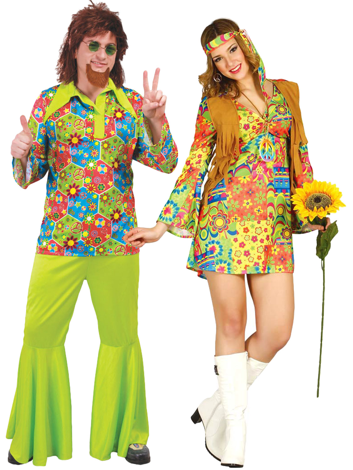Details about Adults 1960s Hippy Costume Mens Ladies 70s Hippie Fancy Dress Psychedelic Outfit