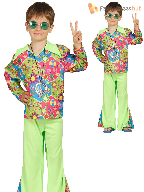 Child Hippy Costume Boys Girls Hippie Fancy Dress Kids 60s 70s Book Week Outfit | eBay