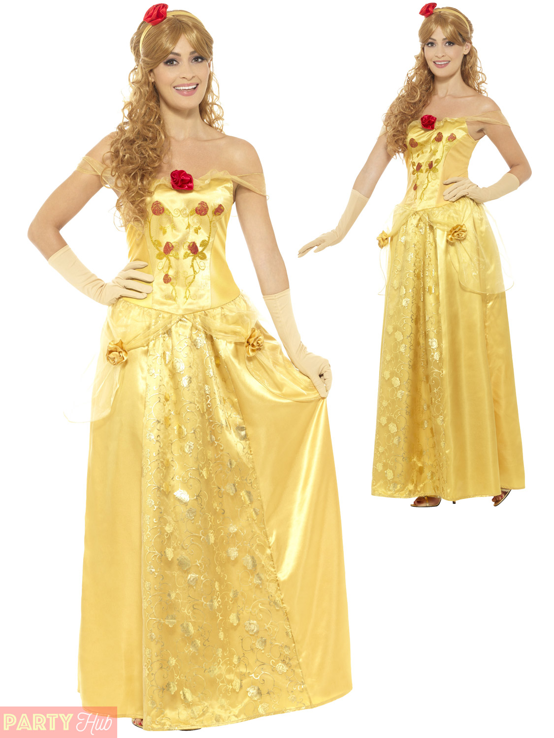 Ladies-Golden-Princess-Costume-Adults-Fairytale-Belle-Womens-  sc 1 st  eBay & Ladies Golden Princess Costume Adults Fairytale Belle Womens Fancy ...