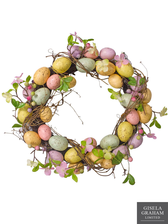 Gisela-Graham-Wreath-Garland-Easter-Egg-floral-table-decoration-Speckled-Eggs