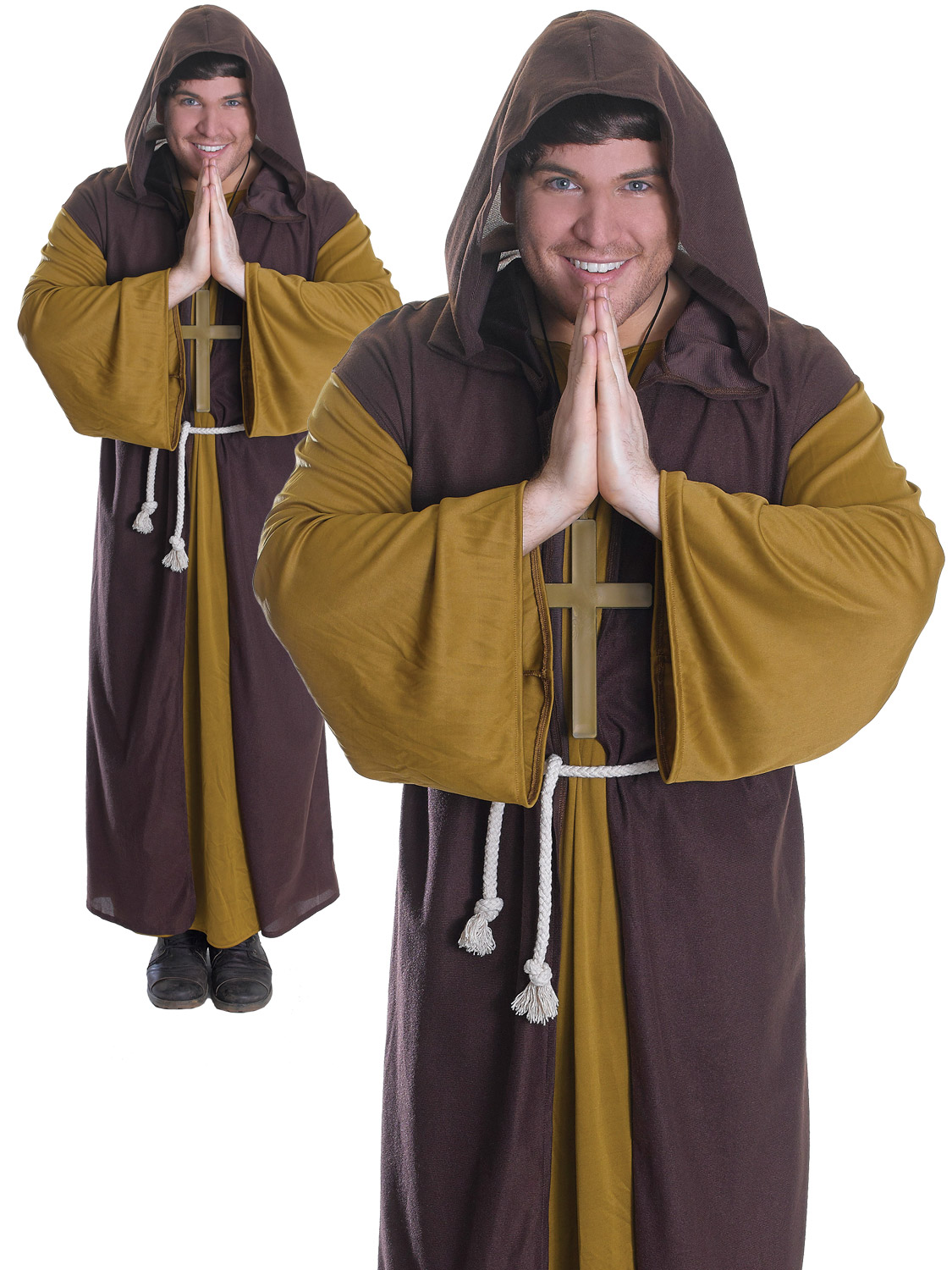 3365e1fe19 Details about Mens Friar Tuck Costume Adults Robin Hood Medieval Merry Men  Fancy Dress Outfit