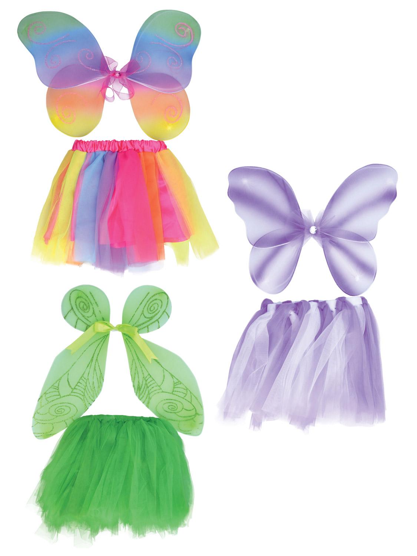 Children Girls Fancy Dress Party Wear Fairy Fairytale Pink Yellow Wings