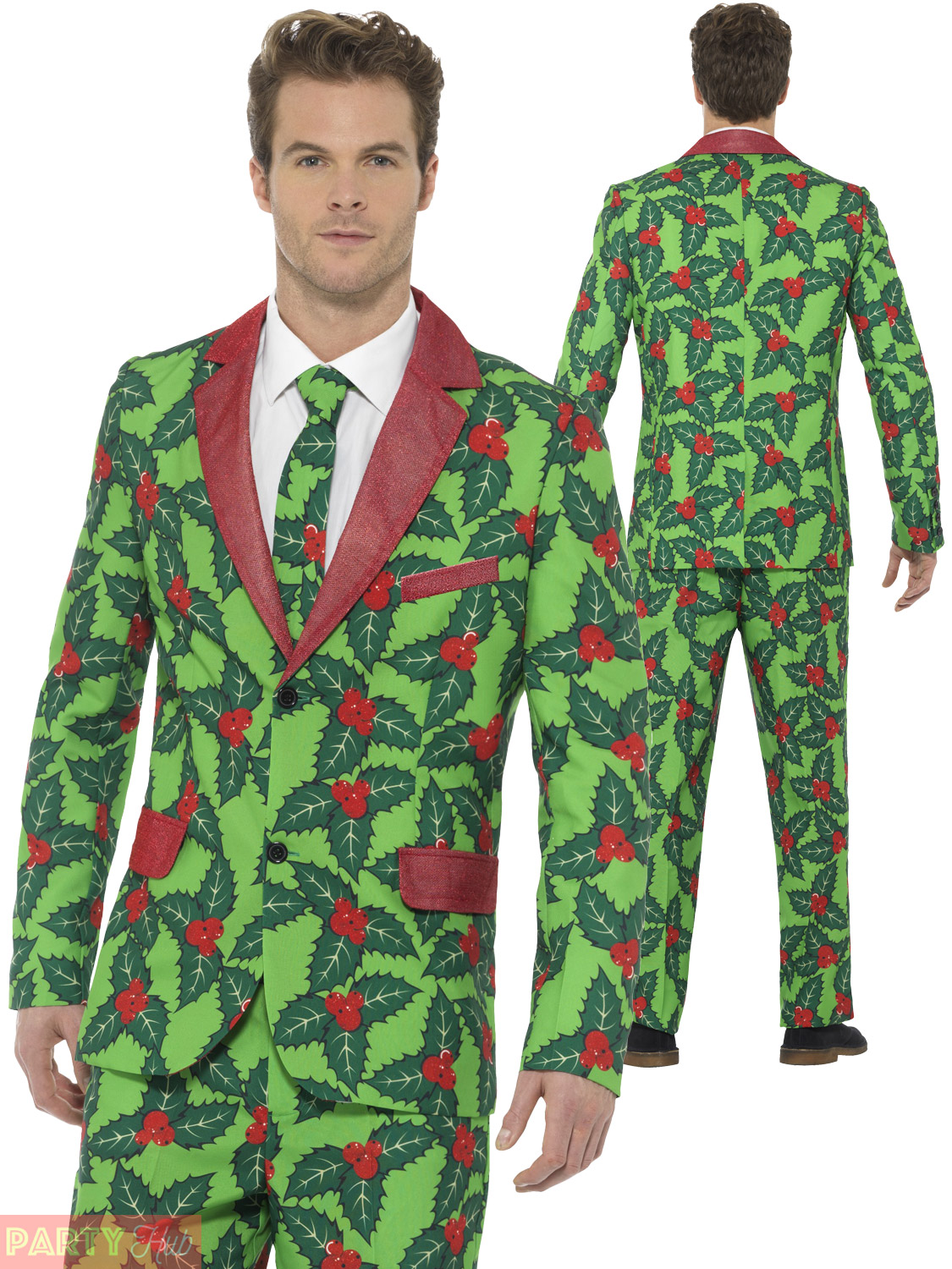 Mens Christmas Suit Holly Berry Fun Xmas Fancy Dress Costume Stand ...