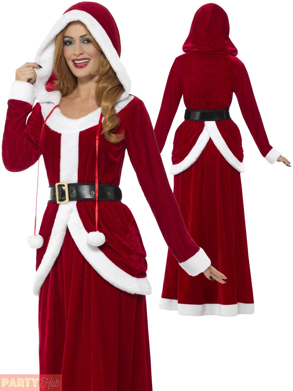 ladies deluxe miss claus mrs santa long fancy