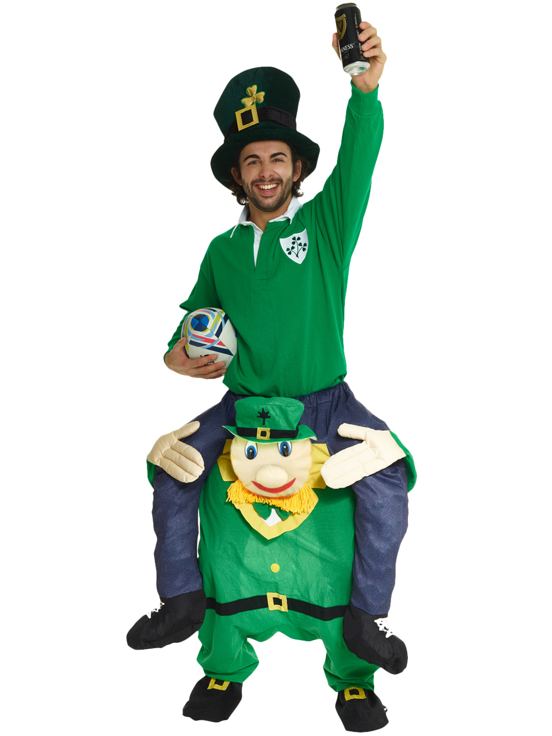 Adult piggy back leprechaun costume funny st patricks day fancy transform yourself into an eye catching leprechaun with this adults piggy back leprechaun costume solutioingenieria Choice Image