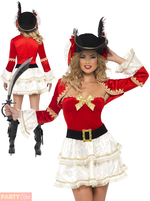 Ladies-Fever-Plentiful-Pirate-Costume-Adults-Buccaneer-Fancy-  sc 1 st  eBay & Ladies Fever Plentiful Pirate Costume Adults Buccaneer Fancy Dress ...