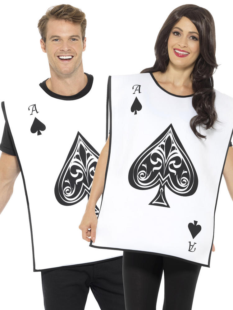 Adults Ace of Spade Costume Mens Ladies 10 of Hearts Fancy Dress Card Outfit