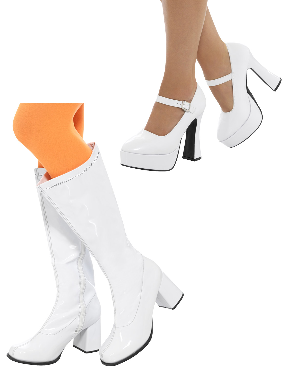 Ladies 70s Platform Shoes Adults 60s Gogo Boots Hippie