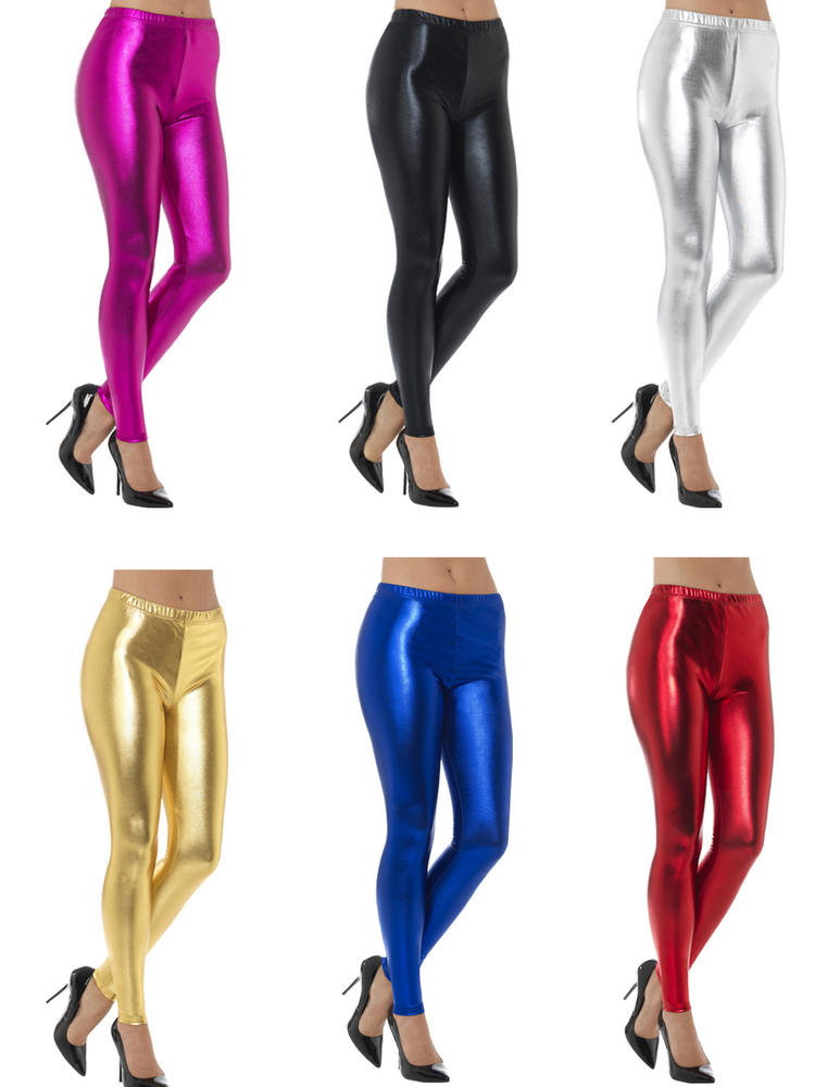 Ladies 80s Metallic Disco Leggings