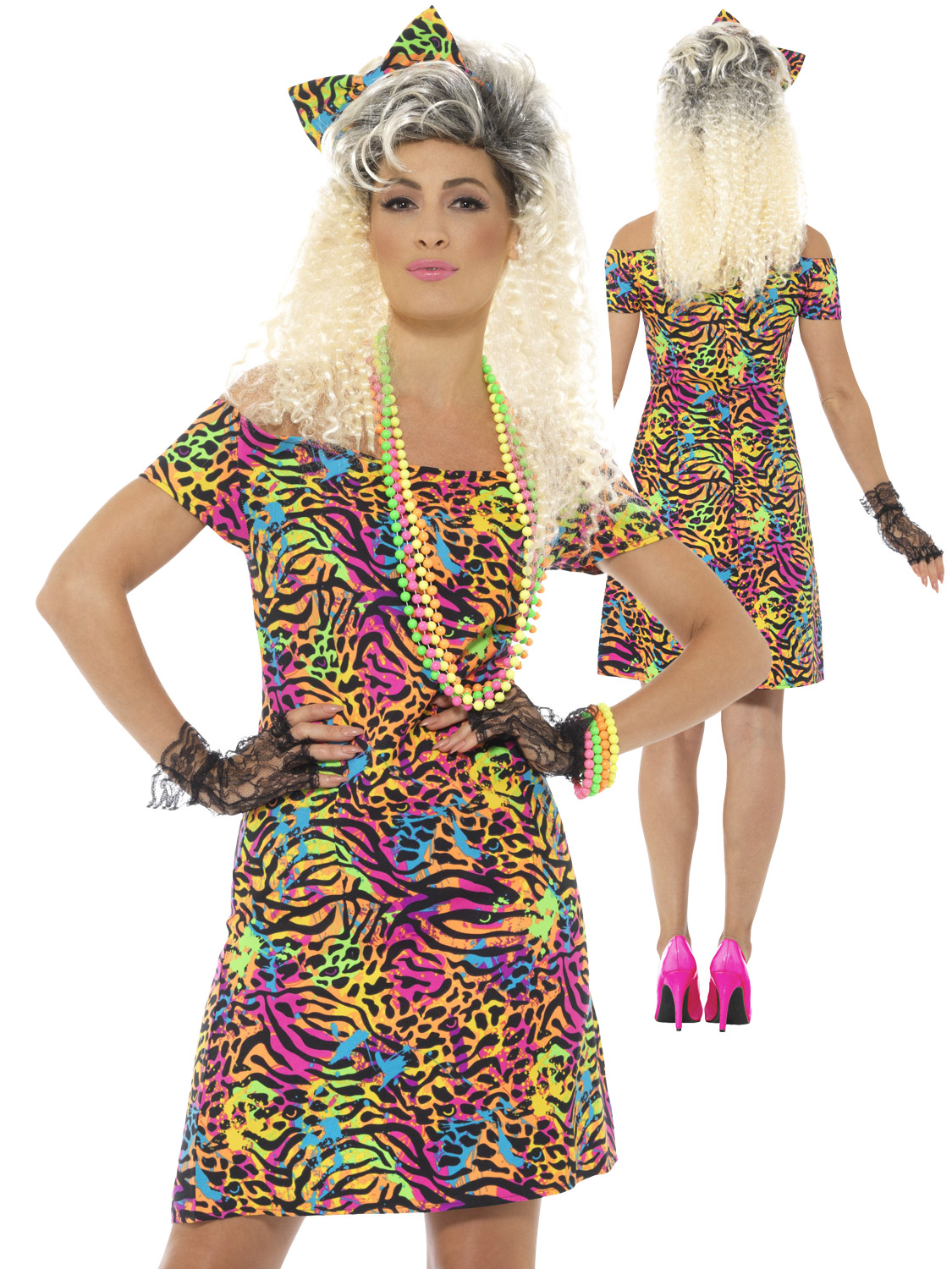 6d728175e4 Details about Ladies 80s Fancy Dress Costume Party Animal Neon Rave  Eighties Womens Outfit