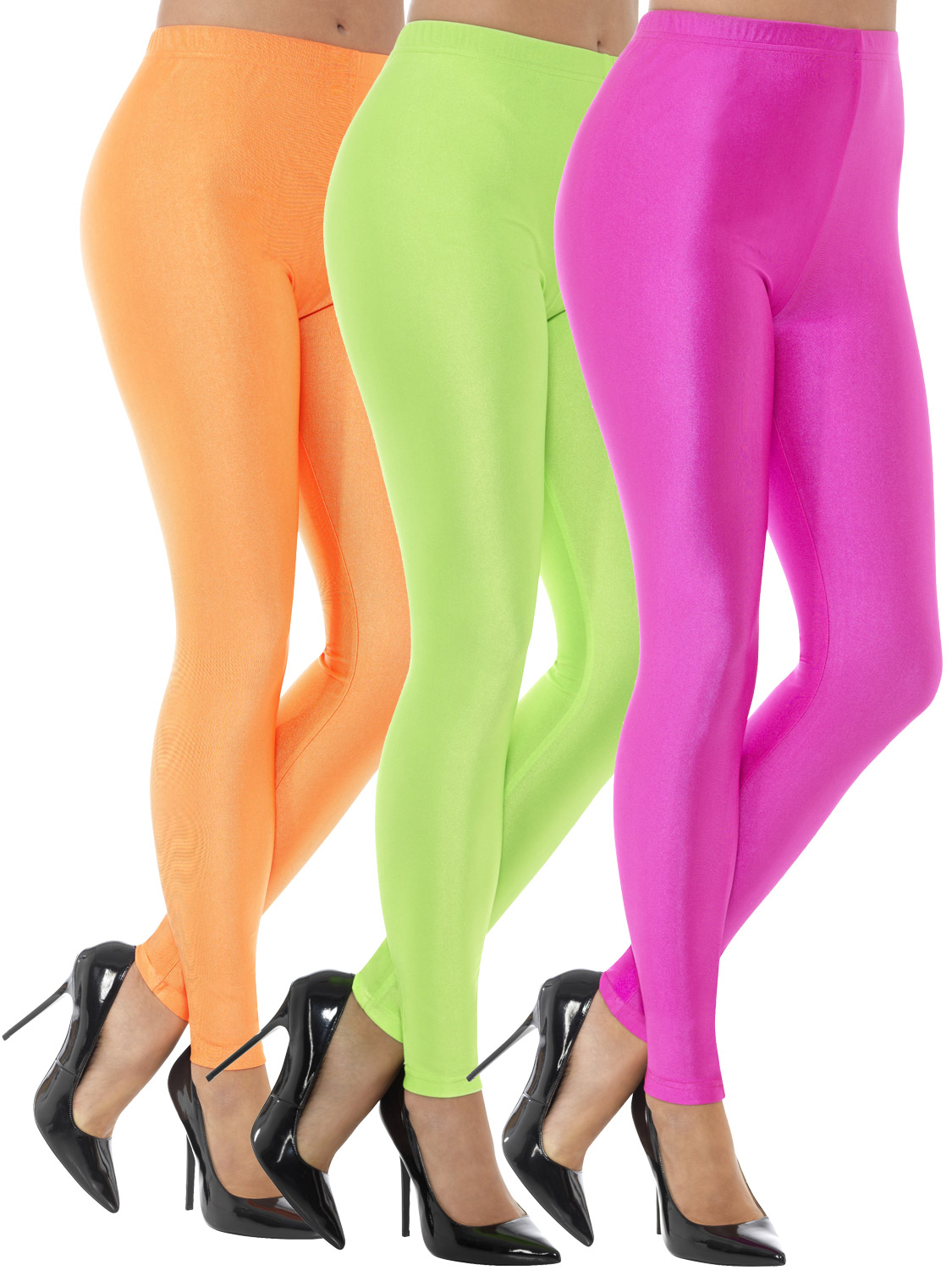 Ladies 80s Disco Spandex Leggings Womens Adults Neon ...