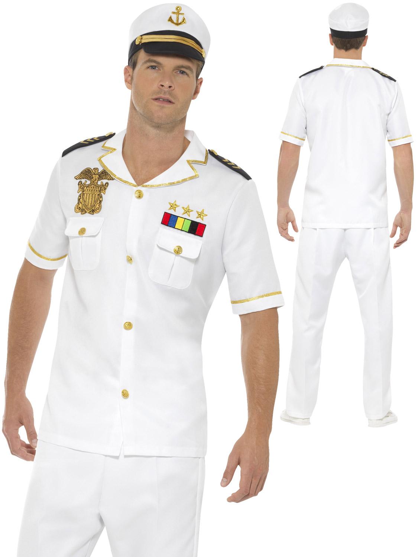 Mens sailor captain costume adults navy officer fancy dress uniform transform yourself into a captain sailor with this mens uniform costume solutioingenieria Images