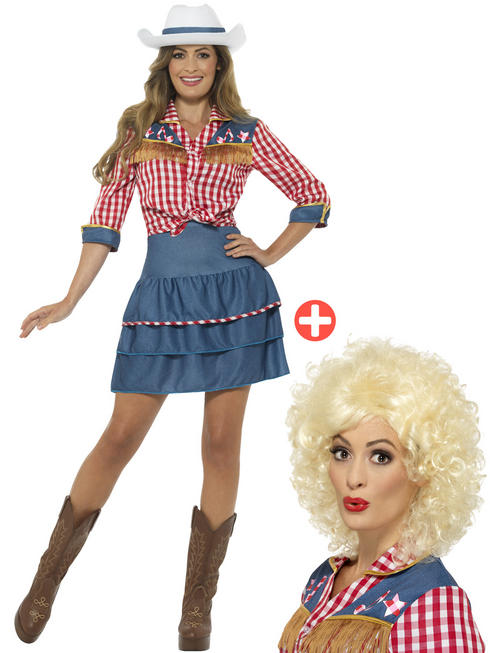 Ladies Rodeo Doll Costume & Wig