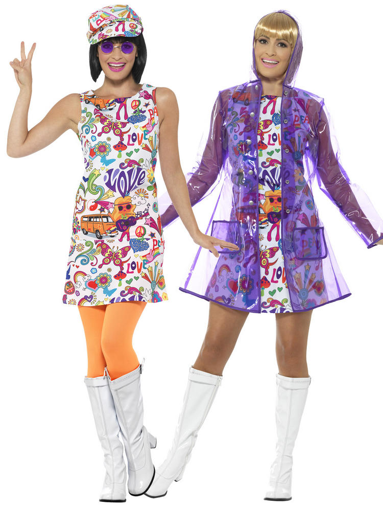 Adults 60s Groovy Hippie Costume & Mac