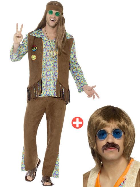Men's 60s Hippie Costume & Kit - Large