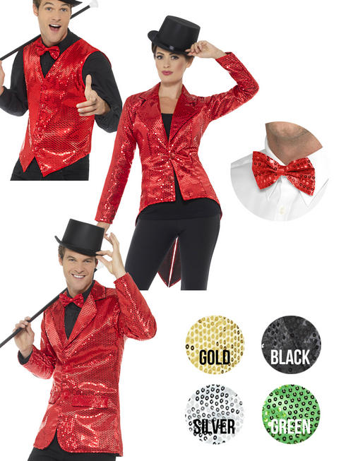 Adults Sequin Waistcoat / Tailcoat / Jacket & Bow Tie