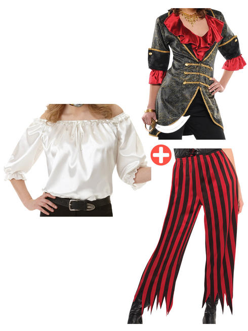 Ladies Pirate Jacket, Ivory Blouse & Trousers