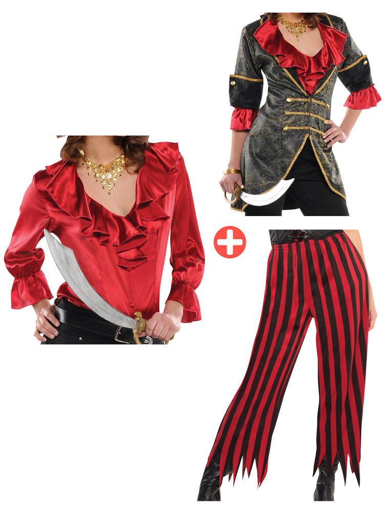 Ladies Pirate Jacket, Red Blouse & Trousers