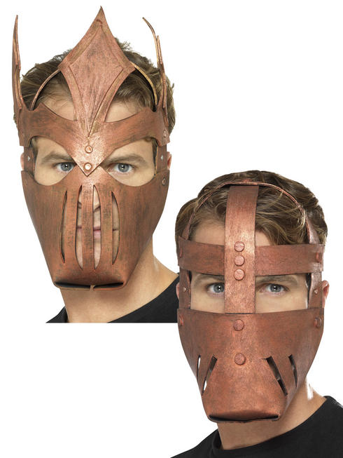 Mens Roman Warrior Bronze Full Face Mask Adults Gladiator Fancy Dress Accessory