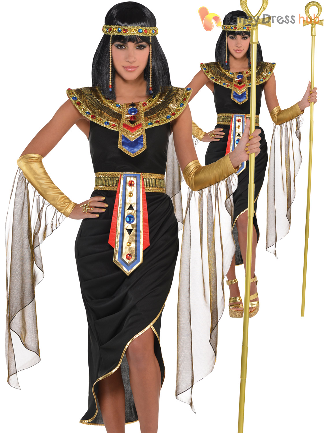 Adult-Cleopatra-Costume-Egyptian-Queen-Greek-Goddess-Fancy-Dress-Ladies-Womens thumbnail 5