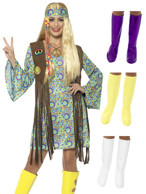 Ladies Hippy Chick Costume & White GoGo Boots - Large