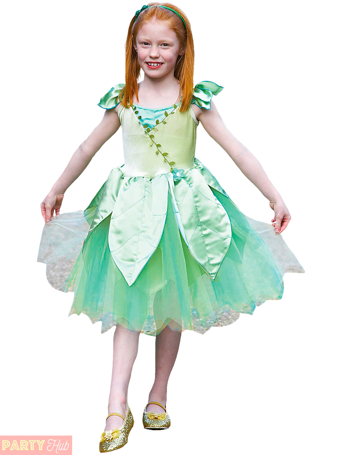 Girls Deluxe Fairy Costume Childs Forest Leaf Woodland