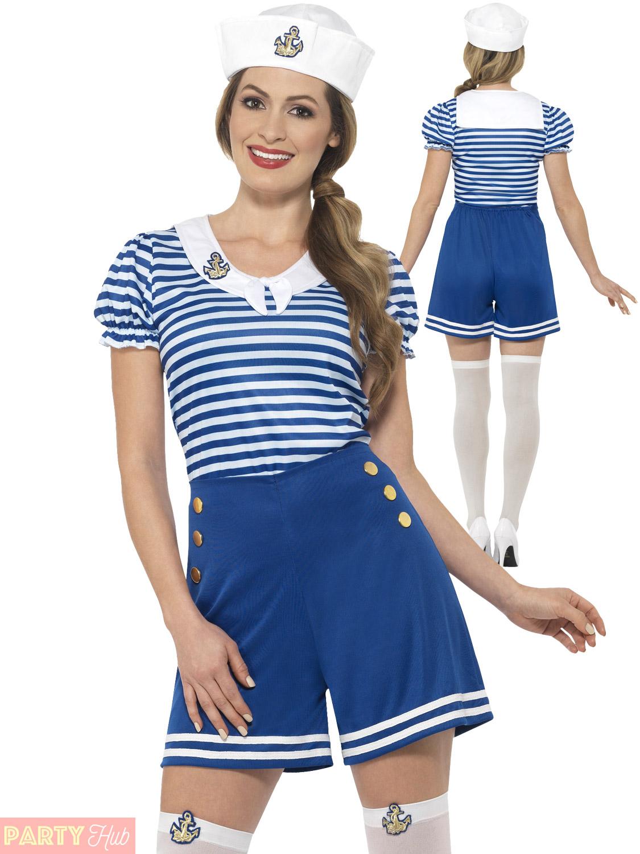 Ladies-Sailor-Costume-Adults-Nautical-Navy-Fancy-Dress-  sc 1 st  eBay & Ladies Sailor Costume Adults Nautical Navy Fancy Dress Womens Hen ...