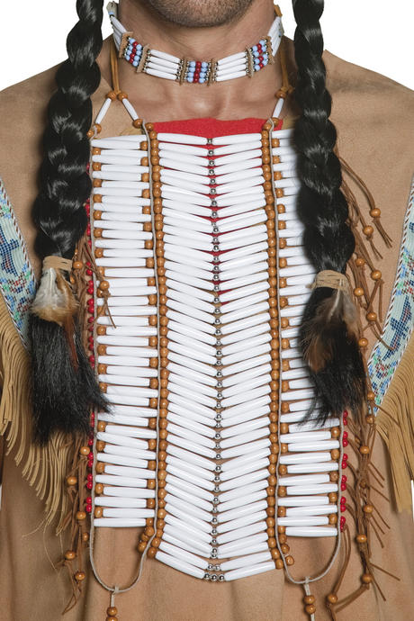 Adult Native American Indian Breastplate Mens Ladies Western Fancy Dress Costume