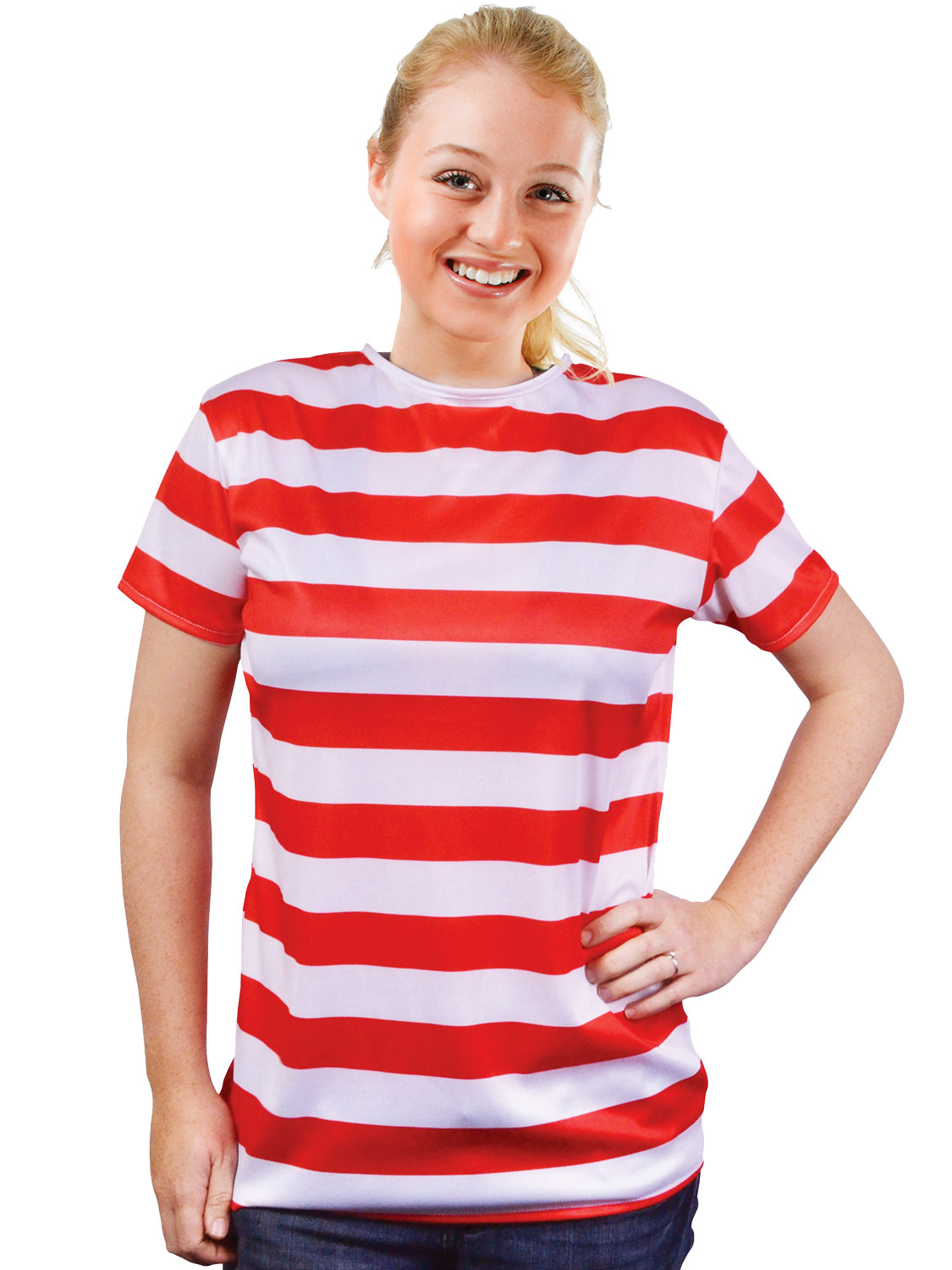 LADIES STRIPED RED WHITE T-SHIRT SET WHERES CHARACTER FANCY DRESS COSTUME