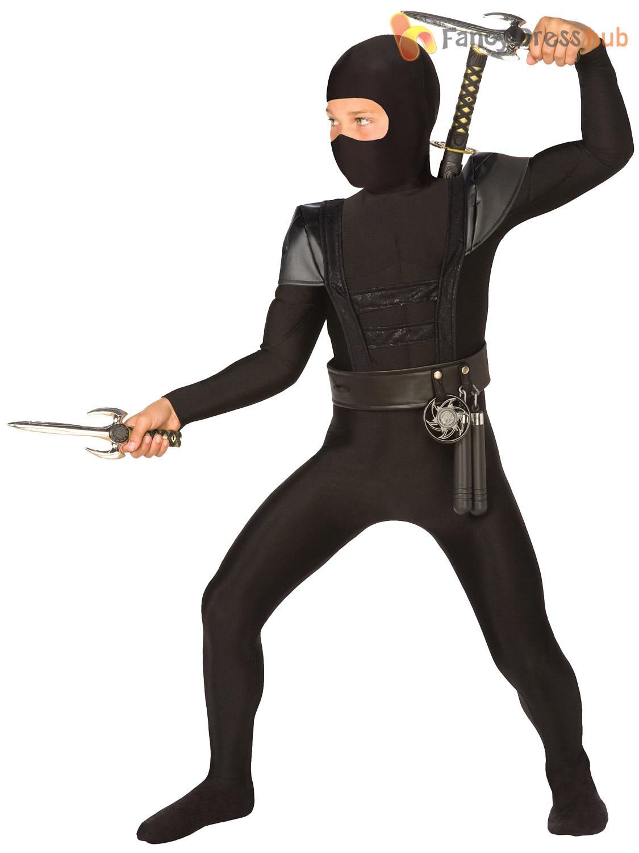 Boys-Black-Ninja-Costume-Samurai-Fancy-Dress-Martial-  sc 1 st  eBay & Boys Black Ninja Costume Samurai Fancy Dress Martial Arts Book Week ...