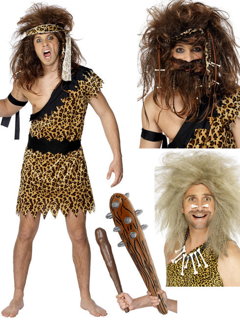 Men's Caveman Costume, Wig & Club