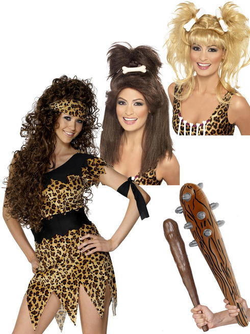 Ladies Cavewoman Costume, Club & Wig