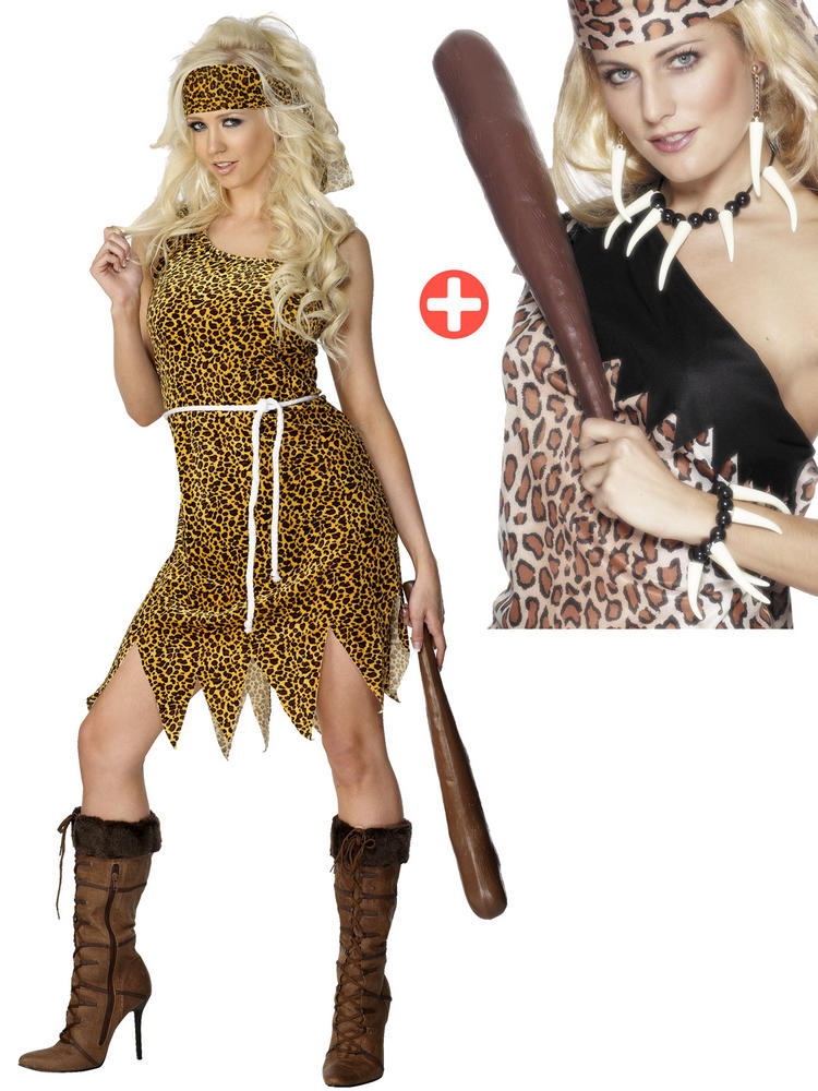 Ladies Cavewoman Costume & Voodoo Set